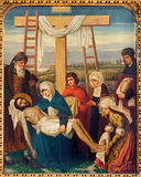 Mechelen - Pietamålarfärg som delen av den arga vägcirkuleringen från. cent 19. i kyrka för n-Hanswijkbasiliek Onze-Lieve-Vrouw-va Royaltyfria Foton