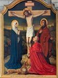 Mechelen - pintura da cena da crucificação na catedral do St. Rumbold foto de stock