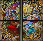 Mechelen - Prophet Jeremiah from windowpane of St. Rumbold's cathedral Stock Image