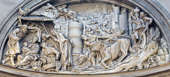 Mechelen - Relief of Nativity from cupola in Onze-Lieve-Vrouw-va n-Hanswijkbasiliek Stock Image