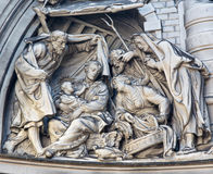 Mechelen - Relief of Nativity from cupola in Onze-Lieve-Vrouw-va n-Hanswijkbasiliek church Royalty Free Stock Images