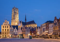 MECHELEN - SEPTEMBER 4: Grote markt and St. Rumbold`s cathedral in evenig dusk Stock Photos