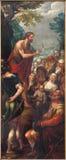 Mechelen - sermon de St John le baptiste comme panneau gauche du Baptistm du triptyque du Christ dans l'église notre Madame à tra photographie stock