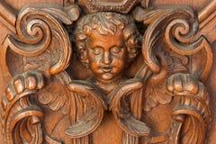 Mechelen - soulagement découpé d'ange dans l'église du n-Hanswijkbasiliek Onze-Lieve-Vrouw-va Images stock