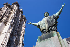 Mechelen - Statue of Christ the King in front of St. Rumbold's cathedral from south Stock Image