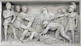 Mechelen - Stone relief Jesus fall under cross in church Our Lady across de Dyle by P. J de Cuyper. Royalty Free Stock Image