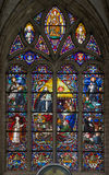 Mechelen - Thomas Aquinas ως μεγάλο δάσκαλο της δυτικής καθολικής εκκλησίας, Windowpane του καθεδρικού ναού του ST Rumbold Στοκ φωτογραφία με δικαίωμα ελεύθερης χρήσης