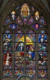 Mechelen - Thomas van Aquinas als grote leraar van het westen katholieke kerk, Ruit van St. Rumbold kathedraal royalty-vrije stock fotografie