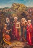 Mechelen - Veronicaen och kvinnorna under Carvary Central panel av triptyken av unkonwnmålaren i kyrka för st Katharine Royaltyfri Foto
