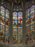 Mechelen - Windowpane in St. Rumbold's cathedral with the scenes from st. Rumbolds life. Royalty Free Stock Photos
