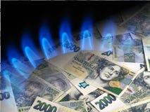 Mechero del dinero y de gas Imágenes de archivo libres de regalías