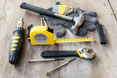 Mechnic and carpenter tools on wood Stock Photo