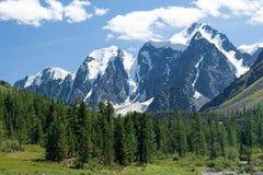 Mechta, Skazka and Krasavitsa. View of Mechta, Skazka and Krasavitsa peaks, Altai Mountains, Siberia, Russia Stock Photos