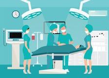 Mecial drużyna dostarcza dziecka w szpitalu ilustracja wektor