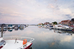Mecklenburg-Western Pomerania,Waren,View of harbour with Royalty Free Stock Image