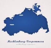 Meclemburgo-Pomerania Alemanha Art Map Foto de Stock