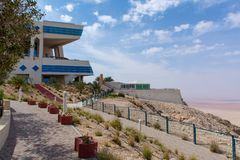 Mecure Grand Hotel bovenop Jebal Hafeet in Al Ain, de V.A.E royalty-vrije stock fotografie