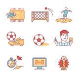 Meczów piłkarskich znaki ustawiający Cienkie kreskowej sztuki ikony Zdjęcia Royalty Free