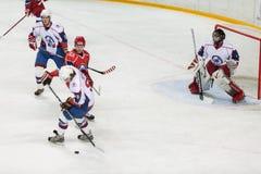 Mecz hokeja na końcowej ceremonii mistrzostwo Obraz Stock