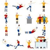 Mecz piłkarski płaskich ikon ustawiać ludzie Fotografia Royalty Free