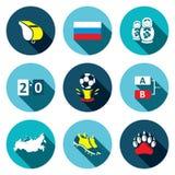 Mecz piłkarski płaskie ikony ustawiać ilustracja wektor