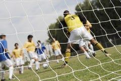 Mecz Piłkarski Widzieć Przez sieci Obrazy Royalty Free