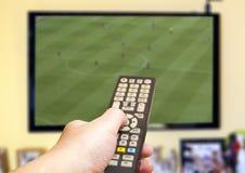 Mecz piłkarski na TV Obraz Stock