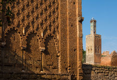 Meczet i minaret rujnujący Chellah necropolis rabat Maroko Fotografia Stock