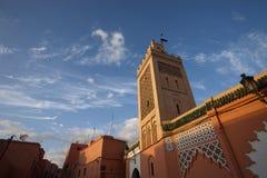 Meczet podczas Błękitnego dnia w Casablanca, Maroko Fotografia Stock