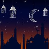 Meczet przed Ramadan przy zmierzchem z gwiazdami i księżyc ilustracja wektor