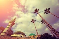 Meczet w starym mieście Akko w Izrael obraz stock