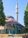 Meczet w wyspie, minarecie i kopułach Rhodes, Obrazy Stock