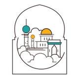 Meczetowej kopuły ilustraci linii konturu stylu minaretowa ikona islam royalty ilustracja