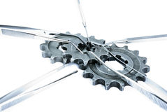Medicall tools. Some medical kit with gears Royalty Free Stock Photos