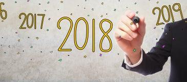 2018 med affärsmannen Royaltyfri Fotografi
