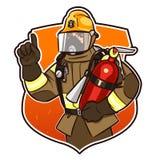 Med brandsläckaren Royaltyfria Bilder