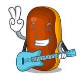 Med choklad för färg för kaka för eclair för gitarrmaskottecknad film stock illustrationer