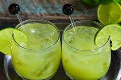 Med is coctail för grönt te Fotografering för Bildbyråer