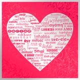 med dag för valentin` s i olika språk royaltyfri illustrationer