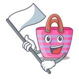 Med den härliga kvinnliga strandpåsen för flagga på maskot stock illustrationer