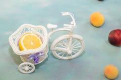 Med den skivade citronen i en dekorativ cykel med frukten som kommas med på en blå bakgrund royaltyfri foto