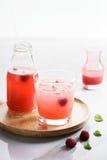 Med is drinkar för rött hallon Fotografering för Bildbyråer