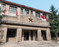 Med enpekad stjärna av den gamla korridoren Arkivbild
