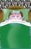 Med feber och magknip i säng Royaltyfri Fotografi