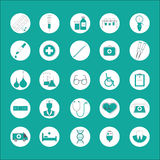 Med. Flat icons set of medicines, diagnostics, treatment, healthcare. Twenty-flat icons on a green background relating to Stock Images