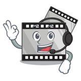 Med headphonebandfilmen ovanför trätecknad filmtabellen stock illustrationer