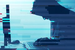 Med huva datoren hacker som arbetar på datoren för skrivbords- PC Royaltyfri Fotografi