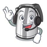 Med kokkärlet för elkraft för kök för hushåll för headphonemaskottecknad film stock illustrationer