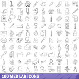 100 med lab icons set, outline style. 100 med lab icons set in outline style for any design vector illustration Royalty Free Stock Photography