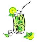Med is mojito med limefrukt och mintkaramellen stock illustrationer